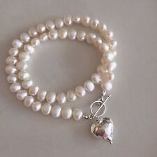 DESIGNER WHITE IVORY FRESHWATER PEARL NECKLACE 925 STERLING SILVER HEART PENDANT