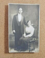 Edwardian Couple in Evening Dress Jas Hargreaves studio Ulverston RPPc xc1
