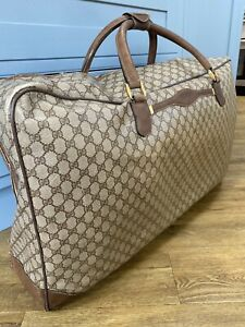 Authentic GUCCI Vintage GG Very Large Boston Canvas/leather Bag Luggage Suitcase