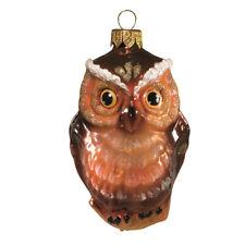 "3.9"" Owl Bird Handblown Glass Ornament Christmas Tree Decor. Handblown in Russia"