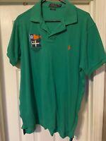 POLO RALPH LAUREN MENS   S/S GREEN    POLO Shirt w/Coastal Flag Patch XL