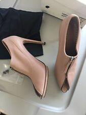 YSL Blush Nude Pink Stretch Leather Joan Bootie Heels Zip Peep Toe 39.5 $550