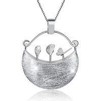 Handmade Flower Basket Pendant for Women Solid 925 Sterling Silver Fine Jewelry