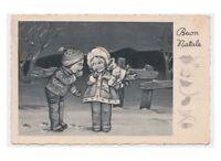 1939 cartolina Degami augurale Buon Natale coppia di bambini con pacco regalo