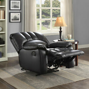 Mainstays Recliner with Pocketed Comfort Coils Faux Leather - Black