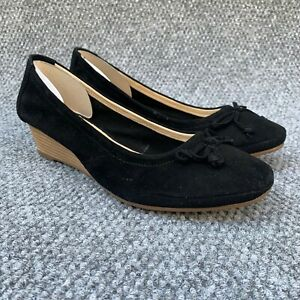 Hush Puppies Womens 9.5 Kacie Martina Shoes Black Espadrille Wedge Suede