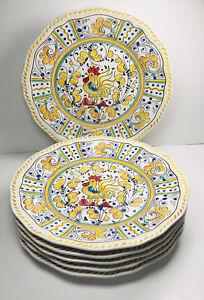 "Le Cadeaux Rooster Yellow Melamine 11"" Set of 6 Dinner Plates Farmhouse"