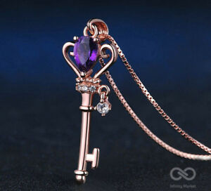 Crown Key Pendant Necklace Natural Teardrop Amethyst 925 Sterling Silver