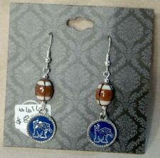 Memphis Tigers Small, Round Earrings with a Football Bead.