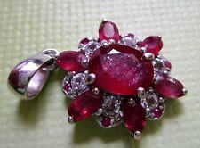 Runde Echtschmuck-Halsketten & -Anhänger aus Sterlingsilber mit Rubin für Damen
