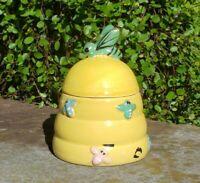 Honey Pot Jar Jug & Lid Yellow Bee Hive W/ Pastel Bees Hand Painted Vintage.