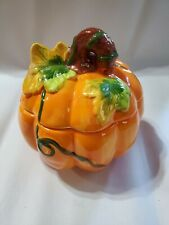 Super Cute Ceramic Ivy Covered Pumpkin with Lid ~Thanksgiving~ Fall~Halloween