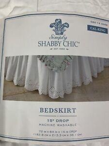 Rachel Ashwell Bedskirt Cal King Woodrose White Eyelet Brand New Open ShabbyChic