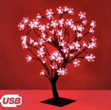 Bright 20 DEL ROUGE bonsai Fleur Arbre 25 cm USB Alimenté Noël Bureau Travail Lumière