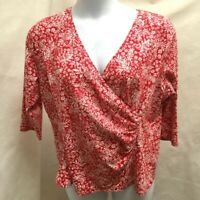 Talbots 2X Top Red White Floral Wrap Ruched Stretch Plus Size Shirt