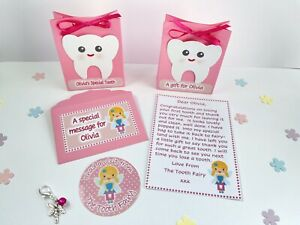 Personalised Tooth Fairy Letter And Gift, Gift Bags, Sticker, First Tooth, Pink