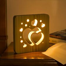 Fullosun I Love You Night Light,Wood Bedside Lamp for Girl Women Romantic Gifts