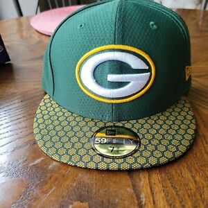 New Era 59Fifty Hat Green Bay Packers NFL 2017 On Field Sideline Fitted Cap