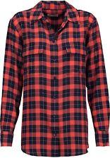 EQUIPMENT Signature Silk Shirt Blouse in Flame Tartan Check Plaid Print Large L
