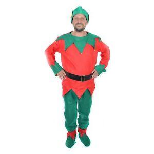 Mens Ladies Adult Elf Costume Christmas Fancy Dress Xmas Santa Helper Outfit UK