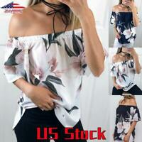 Women Floral Print Off-Shoulder Tops Short Sleeve T-Shirt Casual Loose Blouse US