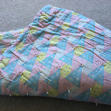 """Antique VTG Hand TIED Quilt Pink Blue Yellow Pastel WOOL BATTING Twin? 75x52"""""""