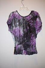 NY Collection Womens Large Multi Colored Ruffled Short Sleeveless Shirt
