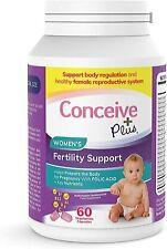 Conceive Plus Womens Fertility Vegan Vitamins Key Nutrients 60 caps 30day Supply