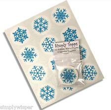12 Azul Copo De Nieve Navidad Cupcake Decoración Cake Toppers congelados Xmas Corte 40mm