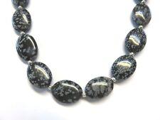 Schneeflocken Obsidian Kette 42 cm 925 Silber Obsidiane necklace K5006