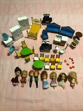 Vintage 1980 Mattel The Littles Dolls And Metal Furniture Lot Dishes Tables