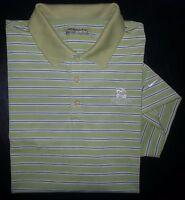 Nike Golf Shirt Golf Polo FITDRY XL Striped Lime Green Blue White Swoosh c968
