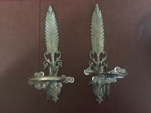 Vintage Silver Feather Candle Sconce Pair