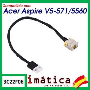 CONECTOR DE CORRIENTE PORTATIL ACER ASPIRE V5-571 / 5560 CARGA PUERTO CABLE
