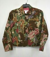 Coldwater Creek Womens Multicolor Floral Button Front Casual Blazer Jacket PM