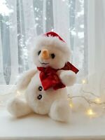 Personalised Snowman with santa hat festive toy decoration white christmas 2019
