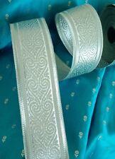 "METALLIC Silver 2 1/8"" HEARTS Jacquard BRIDAL Trim Ribbon Lace Sari Border USA"