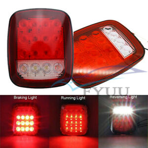 2 Pcs Square 16LED Car Backup Reverse Brake Clearance Marker Light Red+White