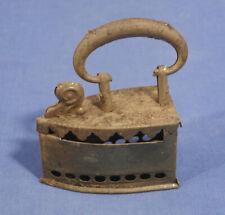 "Rare Vtg Antique Miniature Pierced Tin Flat Iron Doll Furniture Toy 2-7/8"" Old!"