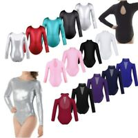 Girls Kids Glittery Sport Leotard Dance Gymnastics Ballet Long Sleeve Jumpsuit