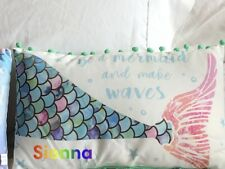 Personalised Mermaid  Pillow with Pom Poms Cushion Green Purple Bedroom Decor