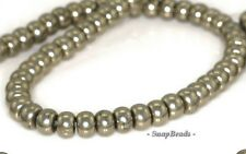 6X4MM PALAZZO IRON PYRITE GEMSTONE RONDELLE 6X4MM LOOSE BEADS 15.5""