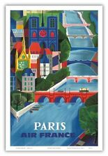 Paris, France - Air France - The Seine River - Vintage Airline Travel Poster by