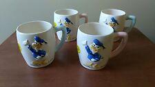 Donald Duck Dan Brechner 1960's Ceramic Cups-set of 4