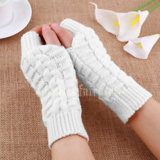 Women Hand Arm Winter Warm Fingerless Mitten Gloves Braided Knit Wrist Crochet