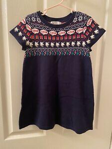 H&M Unicorn Present Christmas Holiday Sweater Dress Navy Blue Girls Size 4-6 NWT