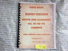 Massey Ferguson Harris Combines No 70 80 90 Parts Manual Book