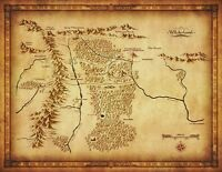 Map of Middle Earth Lord Of The Rings Wall Print POSTER Decor