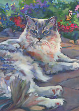 KMSchmidt ACEO Ltd Ed Collectible Art Card- Garden RAGDOLL CAT w butterflies