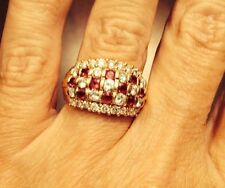 18k Yellow Gold Diamond and Ruby Ring - 8.7 gms